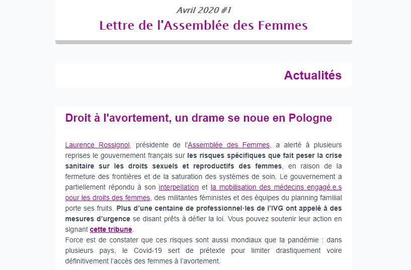 Newsletter avril 2020 : Pas de répit pour les femmes