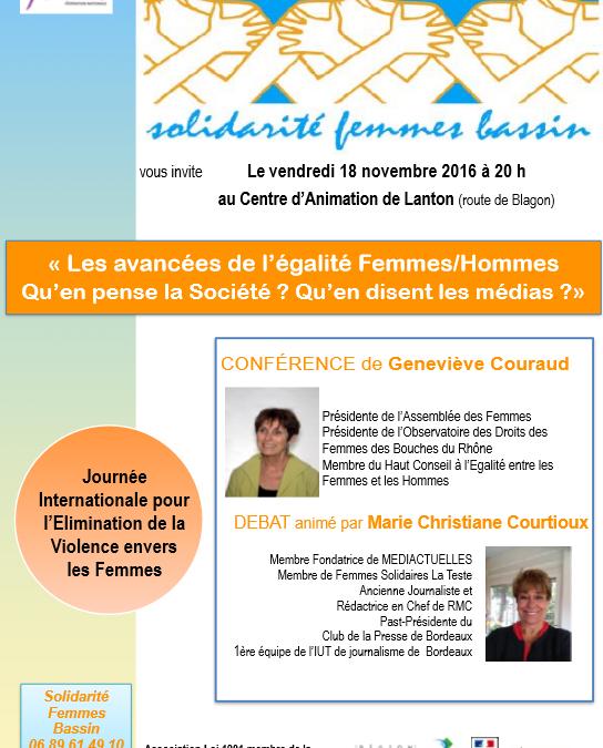 Conférence « Les avancées de l'égalité Femmes/Hommes Qu'en pense la Société ? Qu'en disent les médias ?»