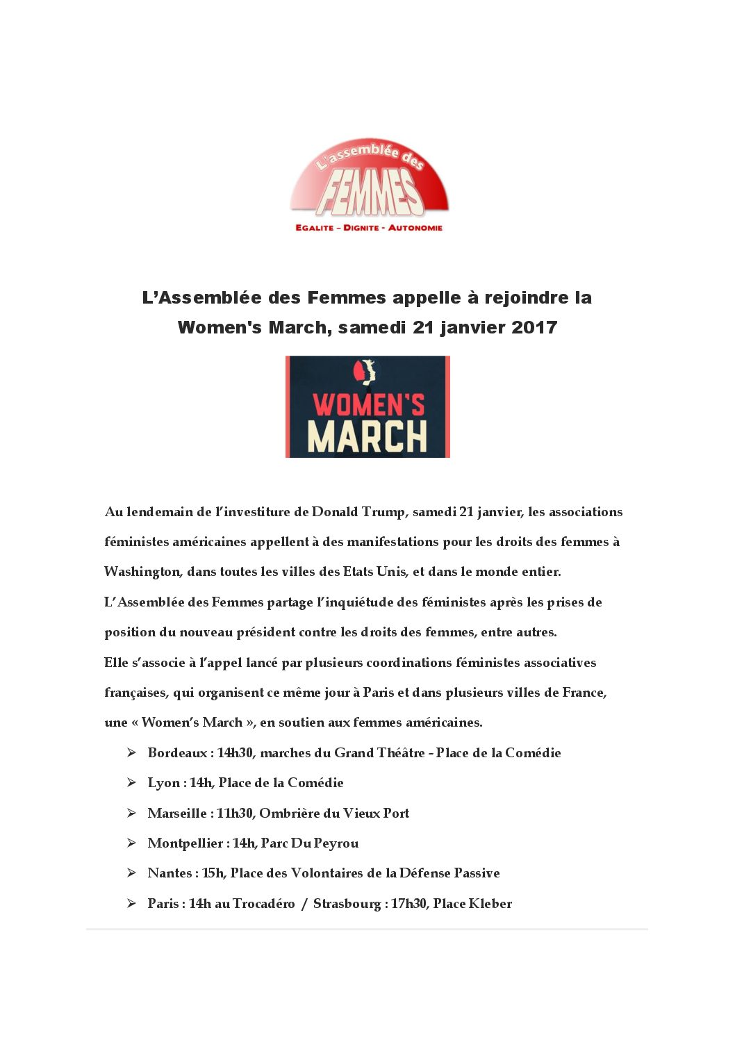 Rejoignez la Women's March, samedi 21 janvier 2017